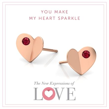 Contour Heart Stud Earrings