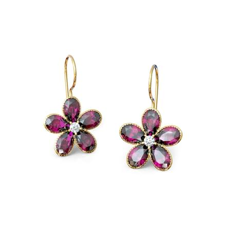Rhodolite Floret Drop Earrings