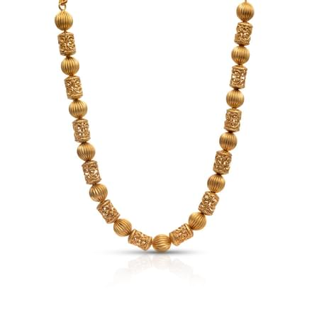 Barrel Bead Gold Necklace