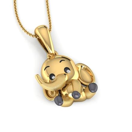 littleluck yellow woo pendant products alex elephant lucky necklace little g in luck gold jewelry
