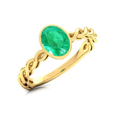 Wave Emerald Birthstone Ring