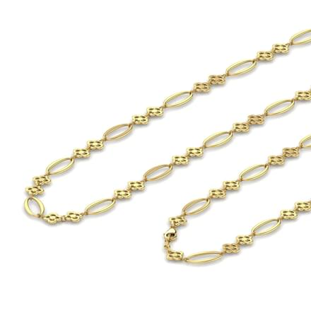 Floral And Oval Link Gold Chain
