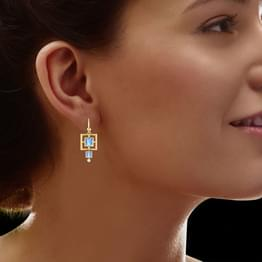 Egyptian Princess Blue Topaz Earrings