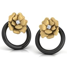 Flower In a Hoop Stud Earrings