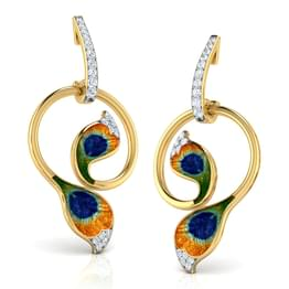 Plumes Peacock Hoop Earrings