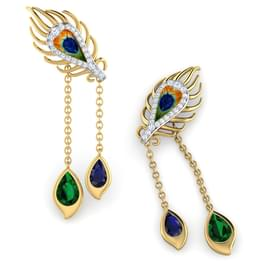 Peacock Dual Drop Earrings