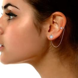 Star Stud Earrings with Chain Clips