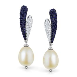 Oval Pearl Drop Earrings