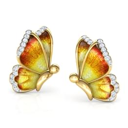 Flutter Orange Butterfly Stud Earrings