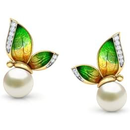Perched Green Butterfly Stud Earrings