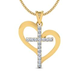 Heart Diamond Cross Pendant