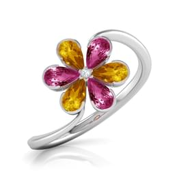 Full Bloom Yellow and Pink Ring