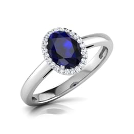 Halo Blue Sapphire Birthstone Ring