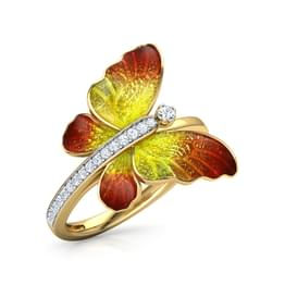 Flare Orange Butterfly Ring