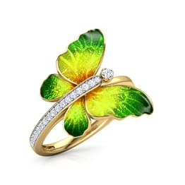 Flare Green Butterfly Ring