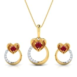 Pretty Ruby Heart Matching Set