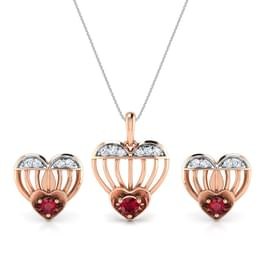 Sparkling Ruby Heart Matching Set