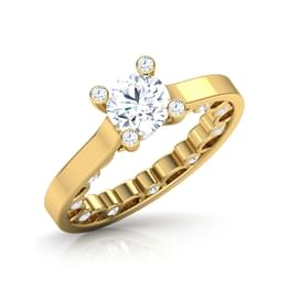 Interior Carved  Solitaire Ring
