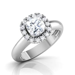 Decorated Crown Solitaire Ring