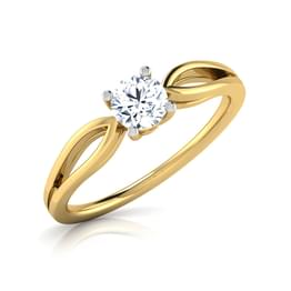 Yue Gold Pear Solitaire Ring
