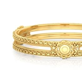 Floral Cut-Out Gold Bangle