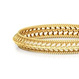 Wave Cut-Out Gold Bangle
