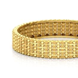 Floral Beads Gold Bangle