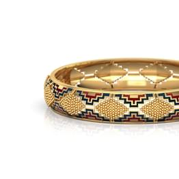 Wide Intricate Gold Bangle