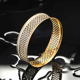 Lattice Mesh Gold Bangle