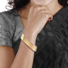 Straight Weave Gold Bangle Set of 4