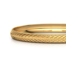 Edged Chevron Gold Bangle