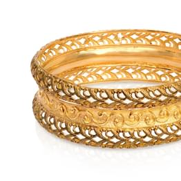 Scroll and Jaali Gold Bangle