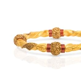 Filigree Bead Gold Bangle