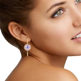 Amethyst 'O' Drop Earrings