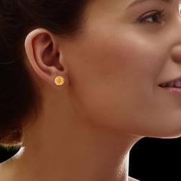 Ekta Granulated Gold Stud Earrings