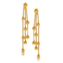 Amika Beaded Gold Drop Earrings