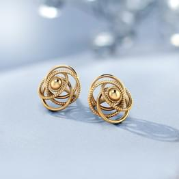 Cosmic Gold Stud Earrings