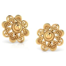 Milligrain Gold Stud Earrings