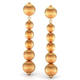 Six Beads Gold Drop Earrings