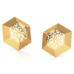 Hex Cutwork Gold Stud Earrings