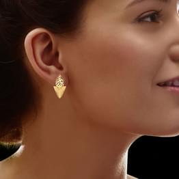 Marquise Cutwork Gold Stud Earrings