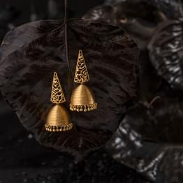 Triangular Filigree Gold Jhumkas