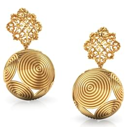 Dome Swirl Gold Drop Earrings