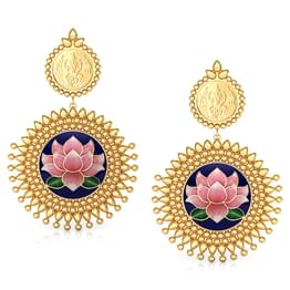 Saanvi Lotus Gold Drop Earrings