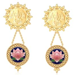 Shreeja Coin Gold Drop Earrings