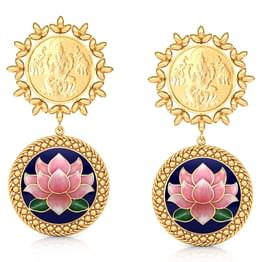 Abhaya Lotus Gold Drop Earrings