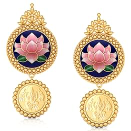 Tanvee Lotus Gold Drop Earrings