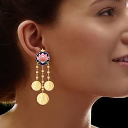 Darshana Coin Gold Drop Earrings