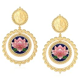 Jivika Lotus Gold Drop Earrings