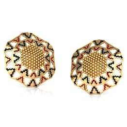 Grainy Hex Gold Stud Earrings